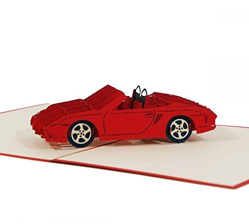 """3D KARTE""""Sportwagen"""" I Pop-Up Karte als Gutschein, Geburtstagskarte, Geldgeschenk, Glückwunschkarte I Klappkarte zum Führerschein"""
