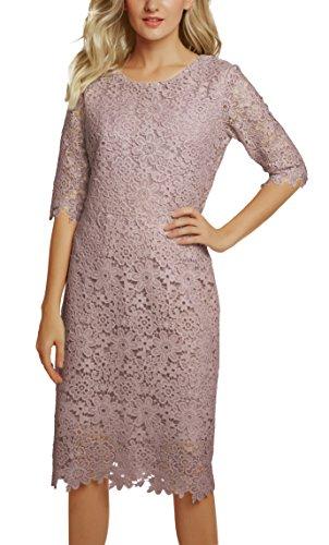 Urban GoCo Damen Elegantes Spitzen Kleid Etuikleid Abendkleid (S, Lavendel)