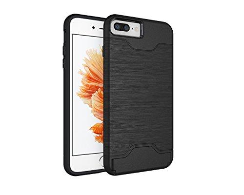 Schutzhülle für Apple iPhone 7 Plus 5.5 Zoll aufstellbares Hardcase mit Kartenfach Schutzcover (Grün) Schwarz