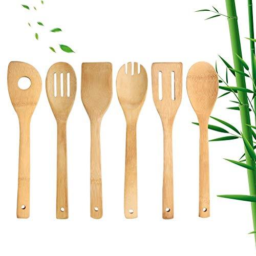 Kuou - Juego de 6 utensilios de cocina de madera, utensilios de cocina de madera, fácil de limpiar...