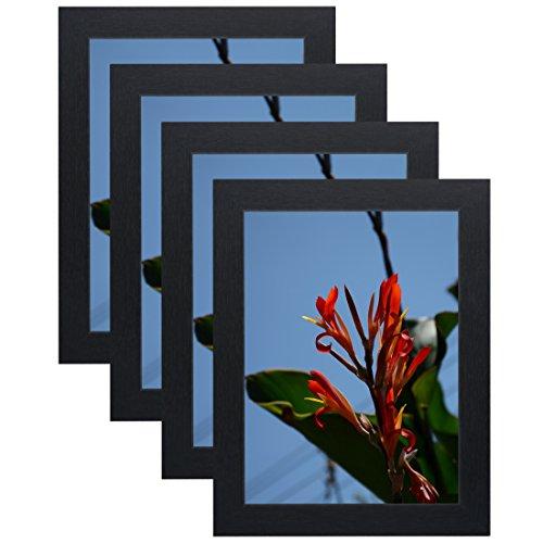 Uzifa 4Stück 15,2x 20,3cm Bilderrahmen Holz Ohne Glas Ohne Matte für Display Zertifikat/Foto/Bild für Wandhalterung Holz Schiene w50608C Schwarz (Rahmen X Diplom 12 16)