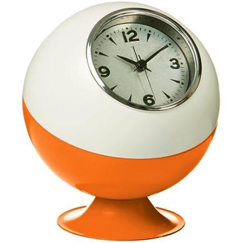 Premier Housewares Orologio da tavolo Retro a forma di sfera, colore: Arancio - Metal Silver Desk Clock