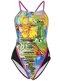 MP Michael Phelps Mujer Selaron redondo espalda Bañador–Black/Dark Rosa, 76,2/tamaño UK 6