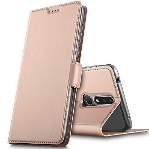 GeeMai Cover per Nokia 3.1 Plus,Flip Case Custodia a Portafoglio in PU Premium Protezione di Lunga Durata,Compatibile per Nokia 3.1 Plus Smartphone.(Oro Rosa)