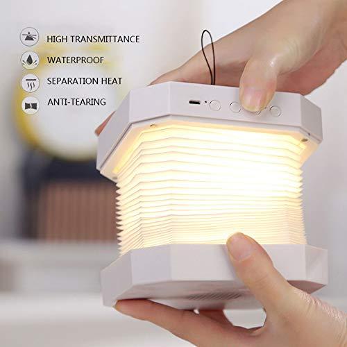 YYMG LED Tischleuchte tragbar Bluetooth Audio Anrufbeantworter Teleskopisch Nachttischlampe USB Nachtlicht Passend für Zuhause Freizeit- und Unterhaltungsort Hotellobby,Weiß