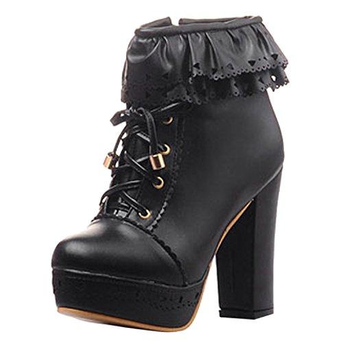oasap-femme-boots-a-lacet-talons-hauts-talons-bloc-dentelle-zip-noir-euro38-us65-uk45