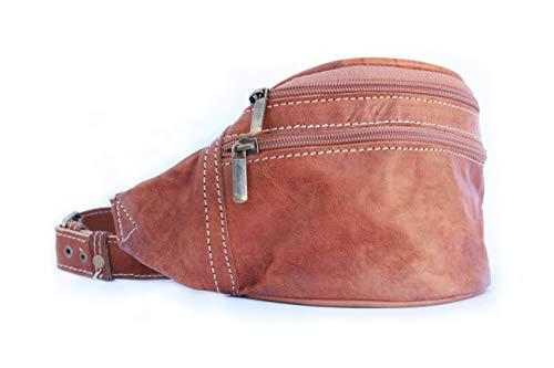Leather Route. Riñonera de Cuero Estilo Retro. Versátil, Suave y Resistente. Diseñada en España y Cosida a Mano. Bolso Bandolera de Cintura de Elaboración Artesanal. Color Camel