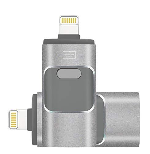128GB [Apple MFI Certified] iPhone Flash Drive Lighting Usb Stick 128GB OTG Flash Drive Flash Laufwerk Externer Expansion Speicherstick Lightning USB Stick Flashspeicher für iPhone Computer Mac Laptop PC-Silver-