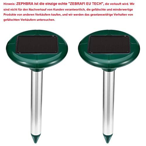 ZEBRAFI 2 Stück Solar Maulwurfabwehr,Ultrasonic Solar Maulwurfschreck,Mole Repellent, Maulwurfbekämpfung, Schädlingsbekämpfung mit IP56 für Den Garten (Grün)