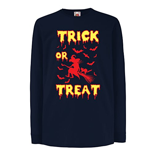 Kinder-T-Shirt mit Langen Ärmeln Trick or Treat - Halloween Witch - Party outfites - Scary Costume (12-13 Years Blau Mehrfarben) (100 Halloween-party-songs Beste)
