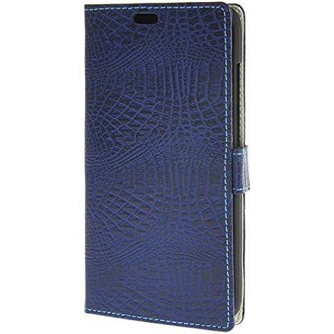 MOONCASE per Huawei Ascend G8 Case modello del serpente Leather Custodia in pelle Flip Case Protettiva Portafoglio Cover Zaffiro 04