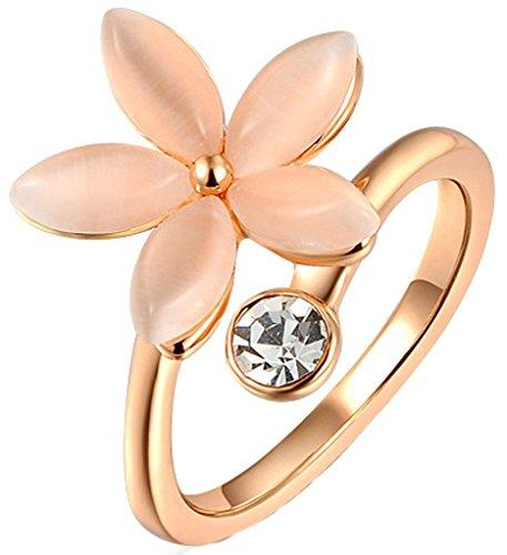 Anelli Donna Matrimonio Placcato Oro Rosa Circle Rotondi Opal Cinque Fiori Dimensioni 11,5 Da