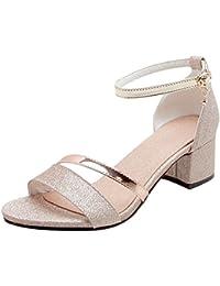 Damen Riemchen High Heel Sandalen Knöchelriemen Peeptoe Schuhe Sandalen Gr.37-42