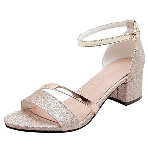 Artfaerie Damen Open Toe Riemchen Sandaletten mit Pailletten und Schnalle Blockabsatz Glitzer Pumps Bequem Schuhe -
