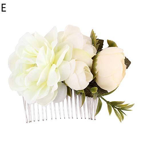 Muzhili3 Mode Frauen Künstliche Blume Haarnadel Haircomb Hochzeit Braut Haarschmuck E