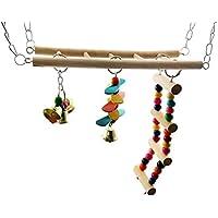Plifet Escalera de Madera para Balancín, Perlas de Color Grandes, Medianas y Pequeñas, Juguete para Loros