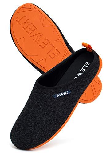 ELEWERT® – Schwarze Unisex Filz-Hausschuhe für drinnen und draußen; mit extra Dicker, oranger Gummisohle und herausnehmbarem Fußbett - Natural-W1 – EU-Design, Made In Spain. Größe 45