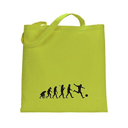 Shirtfun24 Baumwolltasche EVOLUTION FUSSBALL Spieler Soccer, bottle (grün) lime grün