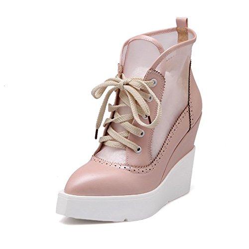 AgooLar Damen Niedrig-Spitze Ziehen auf Weiches Material Hoher Absatz Rund Zehe Stiefel, Pink, 37