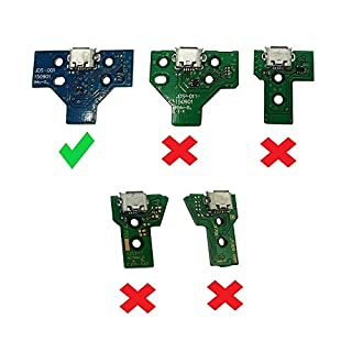 DualShock 4 USB Charging Port / Charger Socket Board JDS-001 for SONY PS4 V1 1st Gen Controller (See Description) - Includes 14 Pin Ribbon Cable
