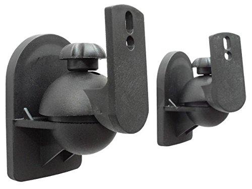 2 Stück (1 Paar) Universal Lautsprecherhalterung Wandhalterung Boxen Lautsprecher (passt für z.B. Teufel, Bose, Yamaha, Bosten) Befestigung Halter schwarz Modell: BH4B
