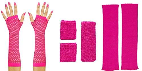Panelize 80er Jahre Set Damen Neon pink Beinstulpen Handschuhe kurz oder lang mit Stirnband und Schweißbändern (Handschuhe ()
