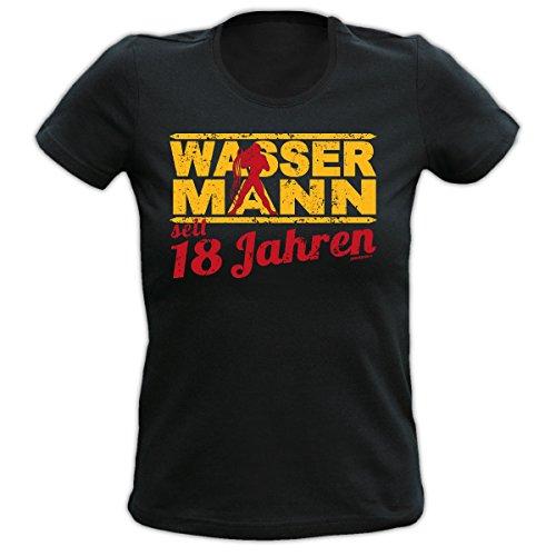 Lustiges Damen T-Shirt zum 18.Geburtstag : 18 Jahre Wassermann Sternzeichen T-Shirt Geburtstag --Goodman Design® Schwarz