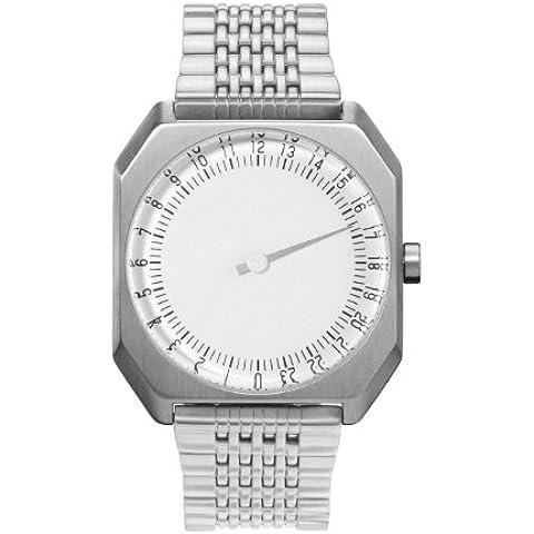 slow Jo 01 - Reloj suizo unisex de 24 horas  con pulsera de metal, color plateado