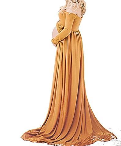 D-Pink Schwangere Umstandskleid Festlich Elastizität V-Ausschnitt Cocktailkleid Mutterschutz Brautkleid Kleider (Gelb)