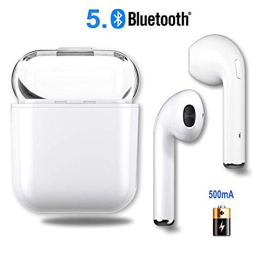 Bluetooth Kopfhörer in Ear, Bluetooth 5.0 Ohrhörer Headsets Stereo Kopfhörer Sport Kabellose Bluetooth Kopfhörer mit Portable Mini Ladekästchen und Integriertem Mikrofon-Weiß -