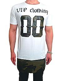 VIP Oversize Double Layer Camouflage Shirt Deep Longshirt Long Swag Herren Sweatshirt NEU skater hip hop Sweat Jacke weiß u schwarz Pullover langes Longsleeve m Kapuzenpullover Sweatjacke Pulli