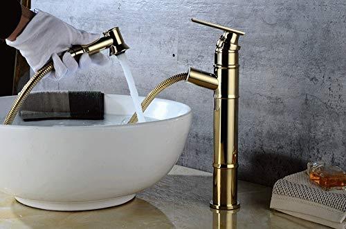 AXWT Europäischen Stil Kupfer Pull Wasserhahn Becken Erhöhung/Short Cold Heat Wasserhahn Wasserhahn Retro Antique Under Counter Basin Wasserhahn (Größe : High) - Counter-höhe 24