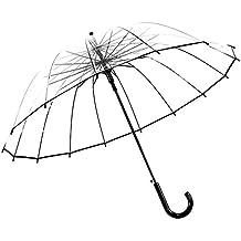 Paraguas hombres y mujeres automáticamente regla 16 hueso transparente panorámica paraguas resistente
