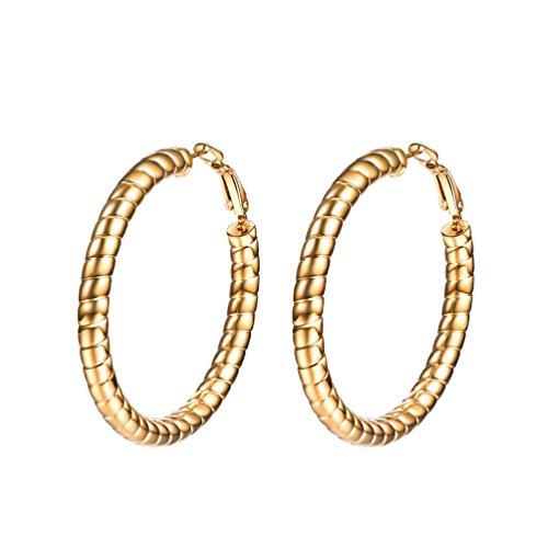 PROSTEEL Creolen für Damen Mädchen goldenfarben Huggie Hoop Ohrringe 40 mm Strang Form Fashion Kreis Ring Ohrringe Geschenk für Jahrestag Muttertag Weihnachten Valentinstag