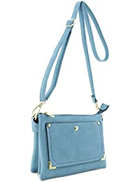 Front Pocket Accent Multi Compartment Small Crossbody Bag Blue Gray By Alyssa