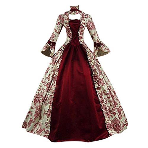 Damen Langarm Renaissance Mittelalter Kleid Piebo Gothic Viktorianischen Königin Kostüm U-Ausschnitt Mittelalterlichen Adels Palast Prinzessin Maxikleid Halloween Weihnachten Party Cosplay - Viktorianischen Tanz Kostüm