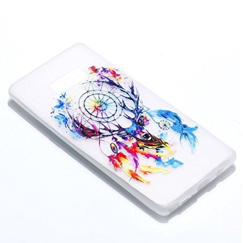 inShang Galaxy Note 8 Custodia [Trasparente cover Galaxy Note 8] [luminoso nel buio], comoda Cover posteriore di case di stile di protezione Deer head to catch the net dream