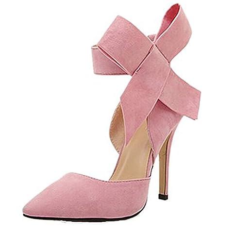 Sommer High Heels Schuhe Damen Geschlossene Toe Wildleder Riemchen Schleife Plateau Pumps mit Schnalle Bogen Stiletto Absatz Elegante Brautschuhe, Rosa