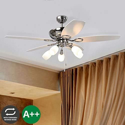 Lampenwelt Deckenventilator mit Lampe 'Cedrik' in Weiß aus Holz u.a. für Wohnzimmer & Esszimmer (5 flammig, E14, A++) - Ventilator, Wohnzimmerlampe (Bad-leuchte Mit Ventilator)