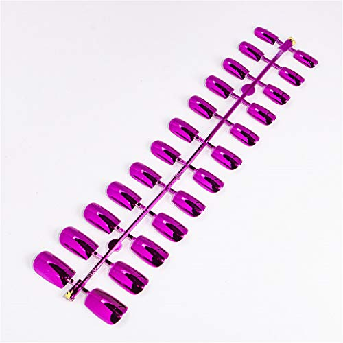 Leopard Kostüm Kit Rosa - 24 Stücke Reflektierende Spiegel Silber Rosa Metallisierung Falsche Acryl Nagelspitzen Metallic Quadrat Gefälschte Nägel Ohne Nagelkleber 7