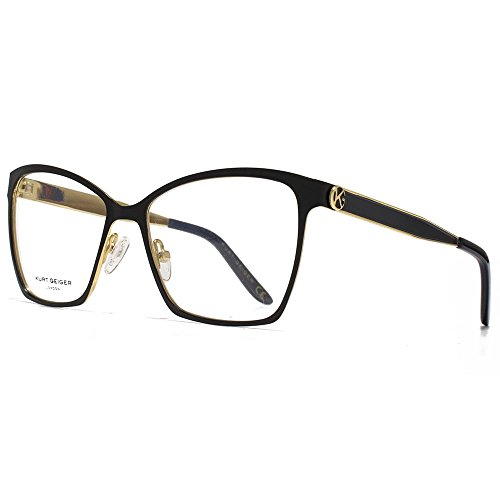 Kurt Geiger Harper Glamour Equerre inox Cateye lunettes en or KGS015-BLK clear
