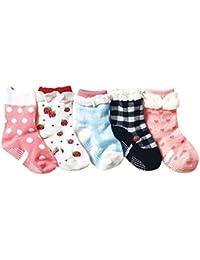 Mattelsen 5 Pares Calcetines Antideslizantes Niños Pequeñas Algodón Lindo con Puños Surtidos Animal Print para Bebé 1-3 años Color al Azar