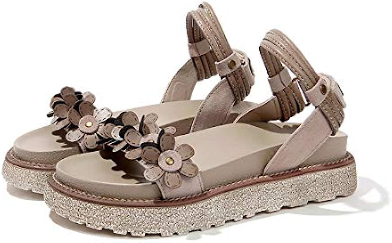 a6368ae04 LYSLOLI Retro sandals women s platform platform platform shoes summer  simple student wild flat Rome B07G3FJPMC Parent