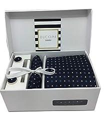Idea Regalo - Ducomi Gentleman - Raffinato Cofanetto Coordinato Uomo Composto da Cravatta, Gemelli, Fermacravatta e Fazzoletto da Taschino - Elegante e Classico Regalo (Expertise)