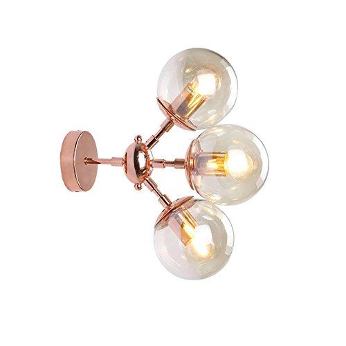 Modern Kreative Wandleuchten Metall Design Kinderlampe Eisen Wandlampe Schlafzimmer Studio Flur Wohnzimmer Wandbeleuchtung Klassisch Schlummerlampe Dekoleuchten Glas Lampeschirm E27 × 3 30CM×32CM Gold