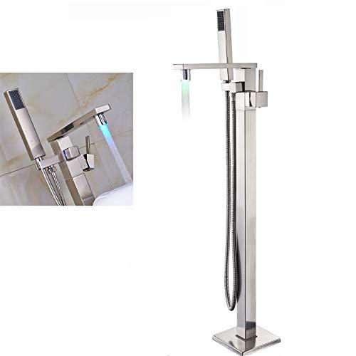 Rozin Nickel gebürstet Freistehende Armatur Badewanne Wasserhahn LED Drehbarer Auslauf Badewannenarmatur Wannenarmaturen mit Handbrause Standarmatur Armaturen Badezimmerarmatur