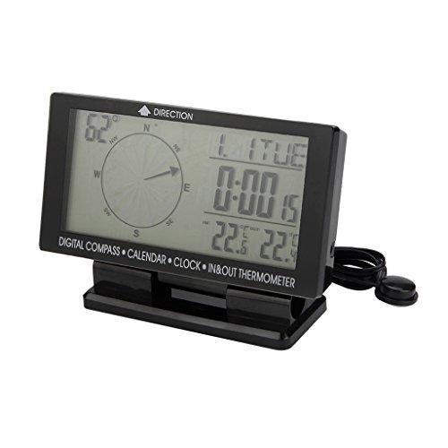 Sharplace Digitaler Elektronischer Kompass für Auto, mit Uhr, Thermometer und Kalender für Drinnen/Draußen, für Auto, Reise