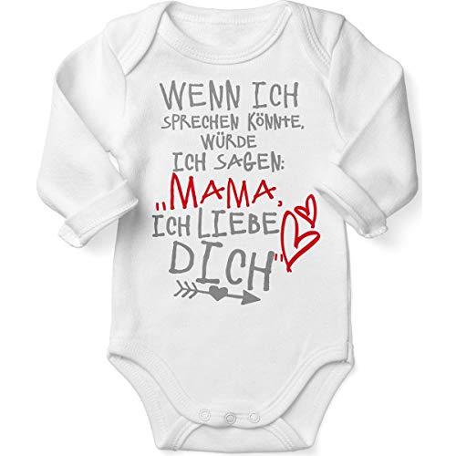 Mikalino Babybody mit Spruch für Jungen Mädchen Unisex Langarm Wenn ich sprechen könnte würde ich Sagen: Mama ich Liebe Dich | handbedruckt in Deutschland |, Farbe:Weiss, ()