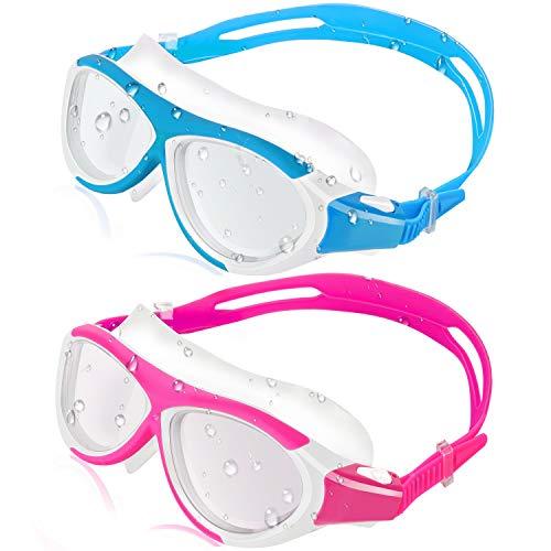 HeySplash 2 Pack Schwimmbrille, Anti-Fog Antibeschlag Schwimmbrillen mit weichem Silikonrahmen, Kein Auslaufen Augenfreundlich Gläser für Kinder Jugend, Rose + Himmel Blau -
