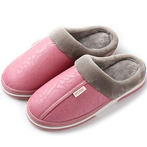 Hishoes Herren Damen Winter wasserdichte Hausschuhe Boden Pantoffeln Anti-Rutsch-Breathable Warme Startseite Slipper, Pink, 39/40 EU